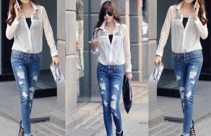 Bạn gái trở nên cá tính năng động với quần jean rách xuống phố